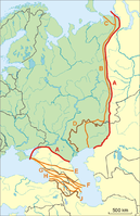 """Definitions used for the boundary between Europe and Asia in different period of History. The commonly accepted modern definition mostly fits with the lines """"B"""" and """"F"""" in this image."""