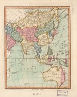 The map of Asia in 1796, which also included the continent of Australia (then known as New Holland).