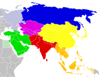 Division of Asia into regions by the UNSD