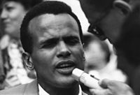 Belafonte speaking at the 1963 Civil Rights March on Washington, D.C