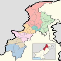 A map of the districts of Khyber Pakhtunkhwa with their names. Colors correspond to divisions.