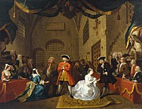 A William Hogarth painting based on The Beggar's Opera (c. 1728), a key antecedent of musical theatre