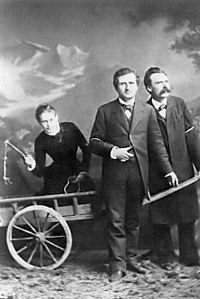 Lou Salomé, Paul Rée and Nietzsche traveled through Italy in 1882, planning to establish an educational commune together, but the friendship disintegrated in late 1882 due to complications from Rée's and Nietzsche's mutual romantic interest in Lou Andreas-Salomé.
