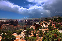 The Colorado National Monument near Grand Junction is made up of high desert canyons and sandstone rock formations.