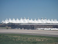 The main terminal of Denver International Airport evokes the peaks of the Front Range.