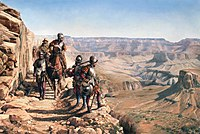 The Spanish discovering the Colorado River, namesake of the state, in 1540, by Augusto Ferrer-Dalmau. García López de Cárdenas can be seen overlooking the Grand Canyon.