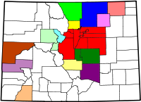Map of the 14 Core Based Statistical Areas in Colorado