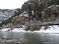 The westbound and eastbound California Zephyrs meet in the Glenwood Canyon.
