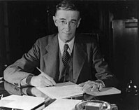Vannevar Bush, inventor and science administrator, founder of Raytheon (BS, 1913; MS, 1913)