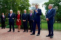 Foreign Ministers Boris Johnson (United Kingdom), Federica Mogherini (European Union), Paolo Gentiloni (Italy), Frank-Walter Steinmeier (Germany) and Jean-Marc Ayrault (France) with U.S. Secretary of State John Kerry speaking at Tufts University, September 2016