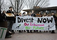 Student protest for fossil fuel divestment