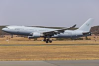 A Royal Australian Air Force Airbus KC-30 landing at Canberra Airport in January 2020