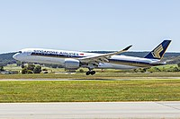 Repatriation flight operated by a Singapore Airlines Airbus A350 landing at Canberra Airport in November 2020