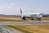 A Qatar Airways Airbus A350 taxiing at Canberra Airport in January 2020