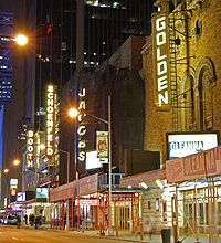 The John Golden Theatre, Bernard B. Jacobs Theatre, Gerald Schoenfeld Theatre and Booth Theatre on West 45th Street in Manhattan's Theater District