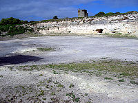 Lime quarry on Robben Island where Mandela and other prisoners were forced to carry out hard labour