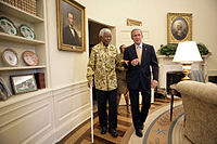 Nelson Mandela and President George W. Bush in the Oval Office, May 2005