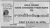 Advertisement placed in Oxford music magazine Curfew announcing On a Friday's change of name