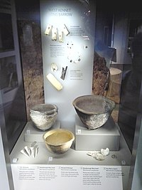 Artefacts recovered from West Kennet Long Barrow on display in Wiltshire Museum, Devizes.