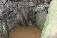 One of the side chambers inside the central chamber of West Kennet Long Barrow