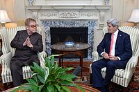 Elton John and United States Secretary of State John Kerry discuss AIDS relief and the work of the Elton John AIDS Foundation at the United States Department of State in Washington, D.C., 24 October 2014