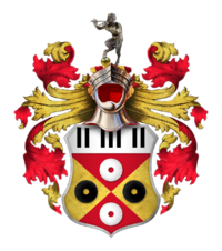 """Sir Elton John's coat of arms. Granted to him in 1987, the shield includes piano keys and records. The Spanish motto, """"el tono es bueno"""", combines a pun on Elton John's name with the translation """"the tone is good"""". The black, red and gold colours are also those of Watford F.C. The steel helmet above the shield faced forwards and with its visor open indicates that John is a knight."""