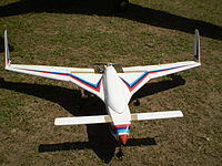 A scaled-down model of the Rustom-1 MALE UAV.