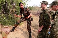 An Indian Army officer briefing Russian soldiers during a joint exercise in 2015