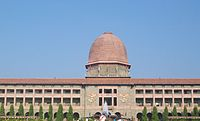The National Defence Academy (NDA) at Pune. NDA serves as the joint services academy for the army, the navy and the air force.