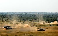 Indian Army's tanks and infantry vehicles during an exercise.