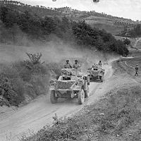 Humber armoured cars of 10th Indian Division move forward in Italy, 22 July 1944.