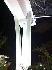 One of the columns at Marlins Park that supports the roof when the roof is opened