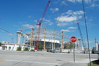 The site two weeks before completion of the final roof panel on March 13, 2011