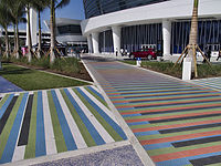 The colorful ballpark has artwork such as tiled walkways on the front plaza by kinetic-op artist Carlos Cruz-Diez