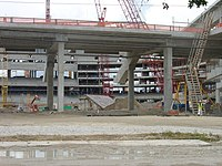 The site on July 2, 2010. The interior bowl is being completed on the west side, from a view at the outfield