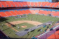The Marlins' former home at what was then Dolphin Stadium was primarily a football stadium, shown prepping for a Dolphins game with gridlines over the diamond in August 2007.