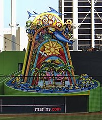 """The Marlins $2.5 million home run sculpture. The right half of its base also formed part of """"The Bermuda Triangle"""" quirk in the outfield fence between 2012 and 2016"""