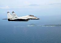 A MiG-29K of the Indian Navy in flight over Indian islands