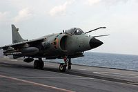 A Sea Harrier takes off from