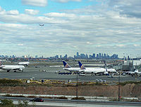New York City and Jersey City skylines as seen from Newark Liberty International Airport