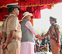 Union Home Minister, Rajnath Singh, presenting decorations to CISF personnel in Ghaziabad