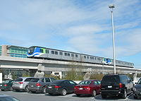 Canada Line trains at Vancouver International Airport