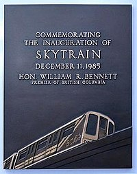 A plaque commemorating the inauguration of the SkyTrain