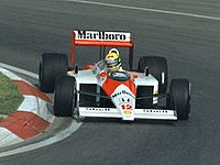 McLaren (pictured with Ayrton Senna) won all but one race in with engine partner Honda