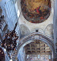 """Dome of the Cathedral of Pisa with the """"lamp of Galileo"""""""