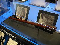 A replica of the earliest surviving telescope attributed to Galileo Galilei, on display at the Griffith Observatory