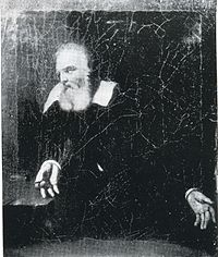 """Portrait, attributed to Murillo, of Galileo gazing at the words """"E pur si muove"""" (And yet it moves) (not legible in this image) scratched on the wall of his prison cell"""