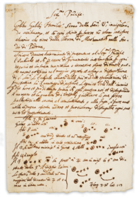 It was on this page that Galileo first noted an observation of the moons of Jupiter. This observation upset the notion that all celestial bodies must revolve around the Earth. Galileo published a full description in Sidereus Nuncius in March 1610