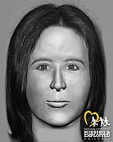 Facial approximation of Jane Doe B-17, one of two remaining unidentified victims of Ridgway, discovered in January 1986.