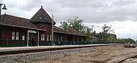 Properties of the Canadian National Railway in the United States serve, in many instances, as routes for Amtrak. Pictured is the Amtrak station in Hammond, Louisiana, refurbished with a modern passenger platform. This segment of the Canadian National Railway was built in 1854 to form part of the New Orleans, Jackson and Great Northern railway, which later became part of Illinois Central.